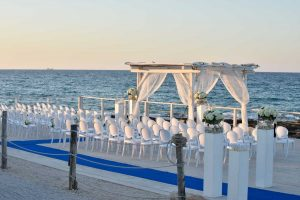 The wedding set up on the sea front