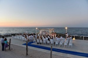 Wedding celebrated on the beach on the sea front