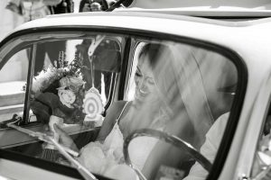 Bride in a fiat 500